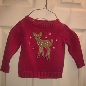 Pink deer sweater for 12 month old.